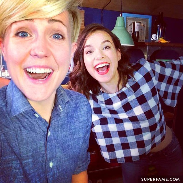 Hannah Hart and Ingrid Nilsen looking excited.