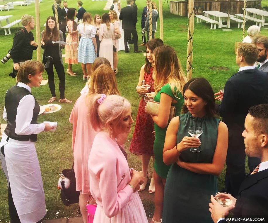 Wedding guests at Tanya Burr's marriage ceremony.