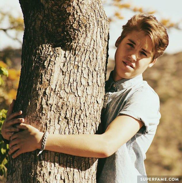 Matt, a literal tree-hugger.