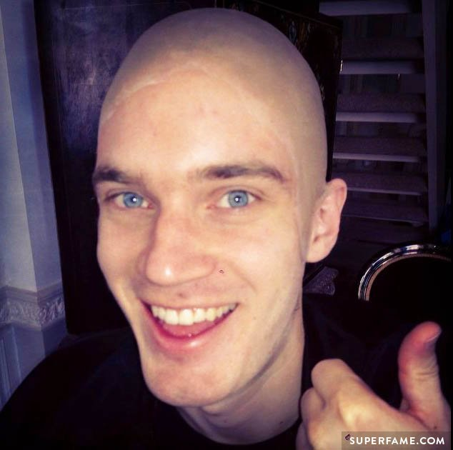 Pewdiepie with a bald cap.