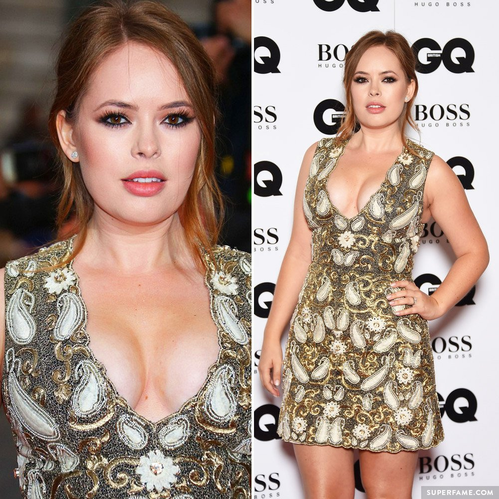 Tanya Burr displayed a plunging neckline.