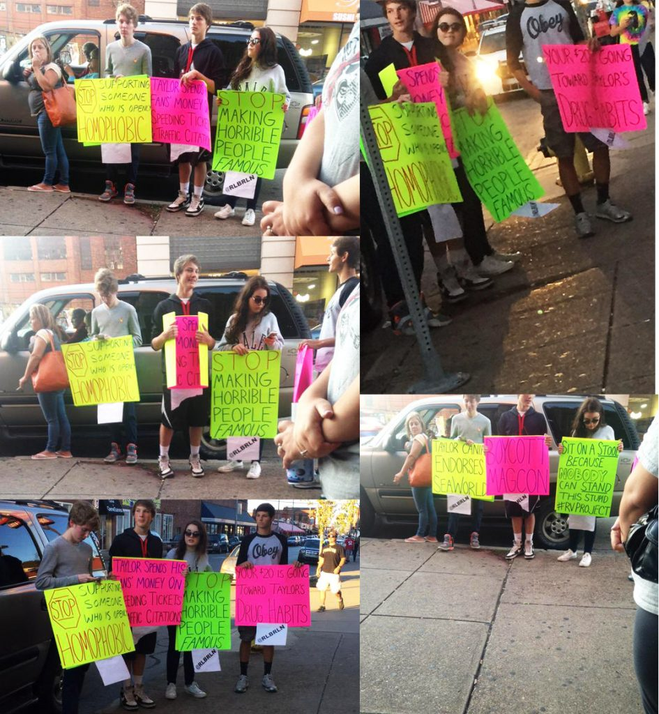 Taylor fans recorded the protesters.