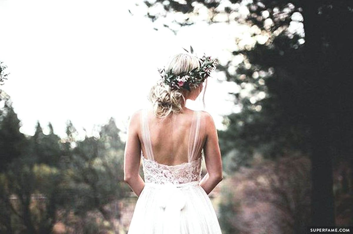 The back of Aspyn's wedding dress.