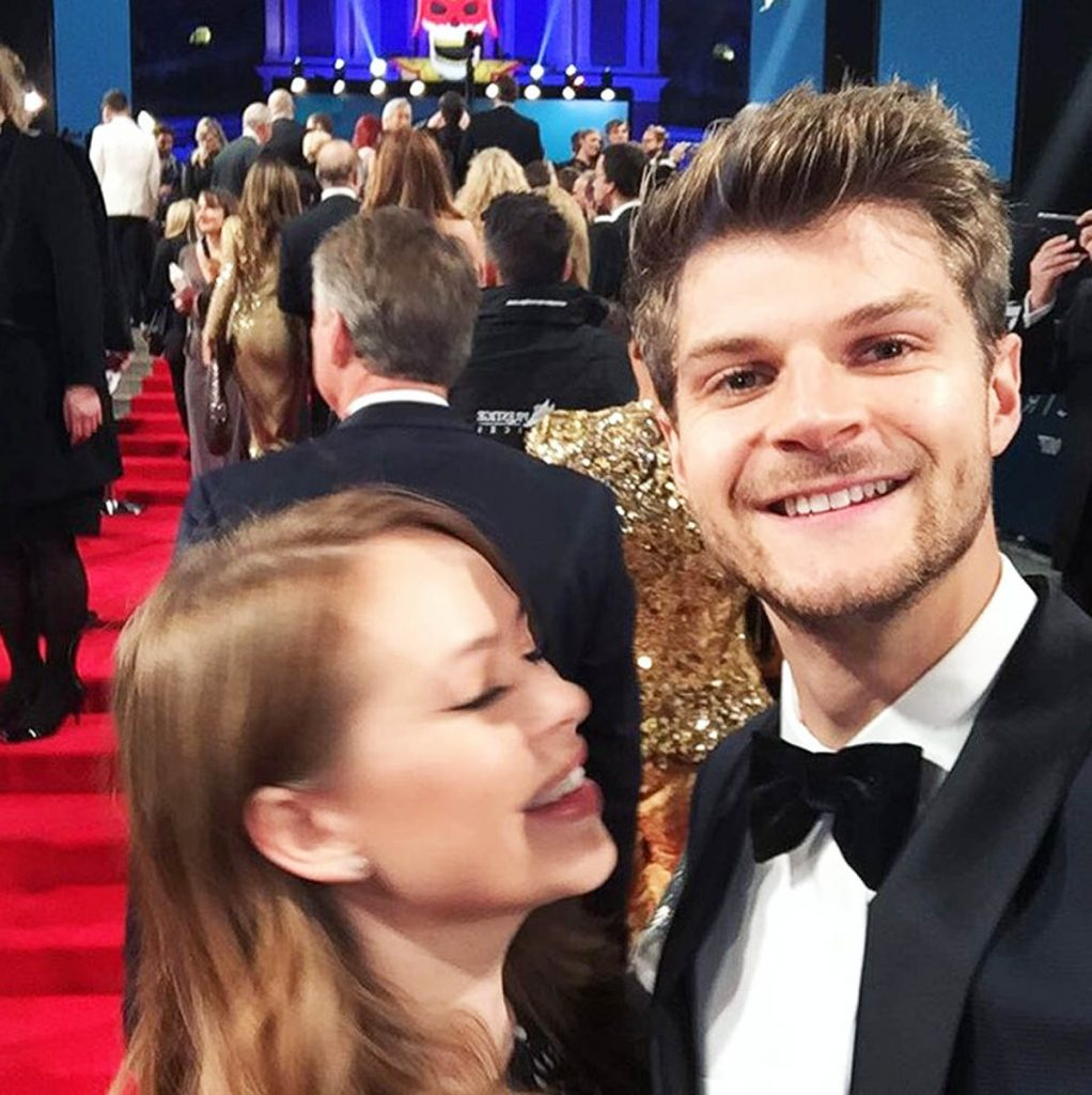 Jim Chapman and Tanya Burr on the red carpet.