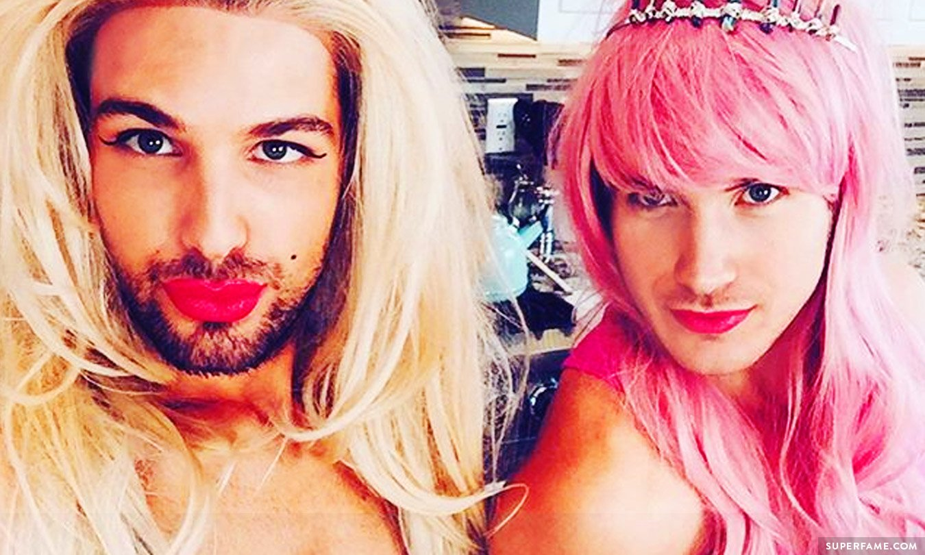 Joey and Daniel in drag.