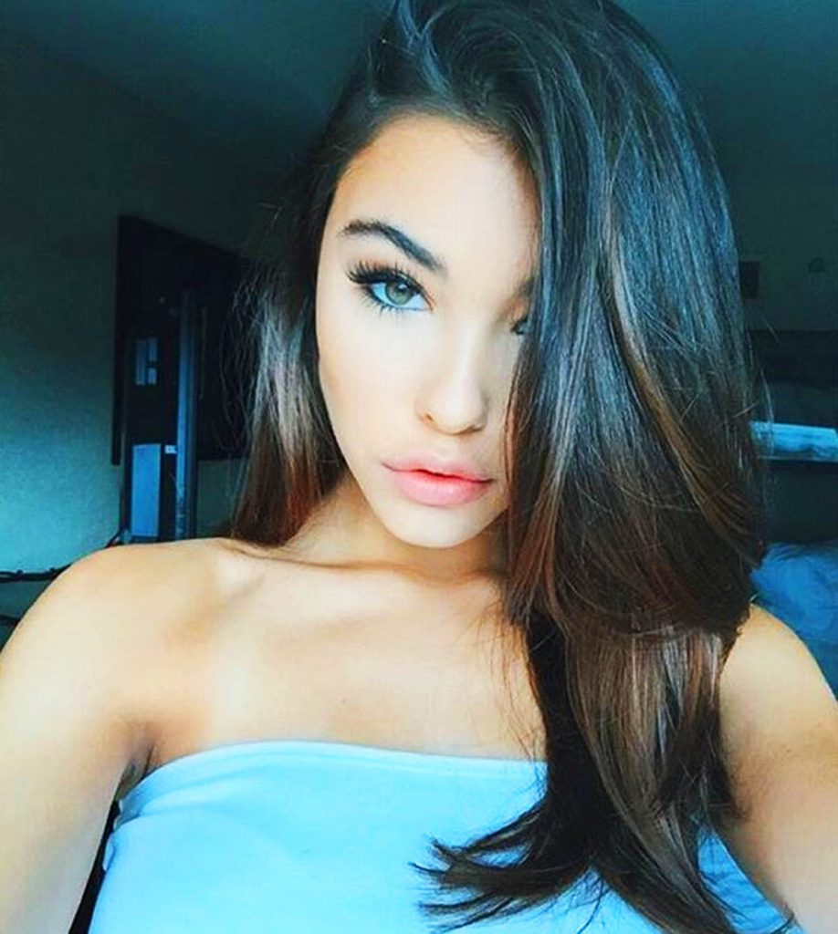 Madison Beer in blue.
