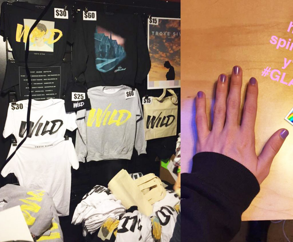 Troye's merch and nails.