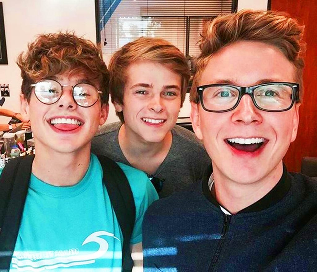 Tyler Oakley with Luke Korns and Mikey Murphy.