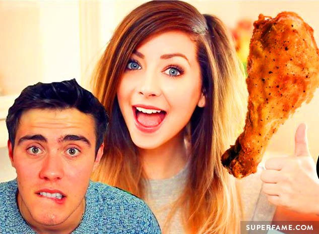 Zoella, chicken and Alfie.