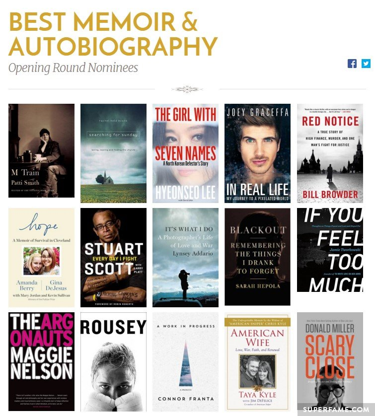 Best Memoir and Autobiography category.
