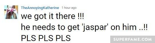 jaspar-on-him