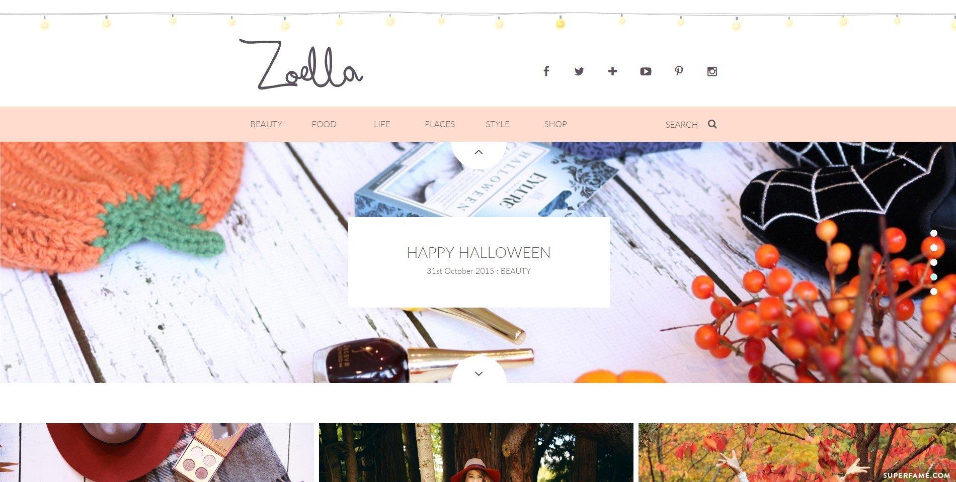 Zoella's blog.