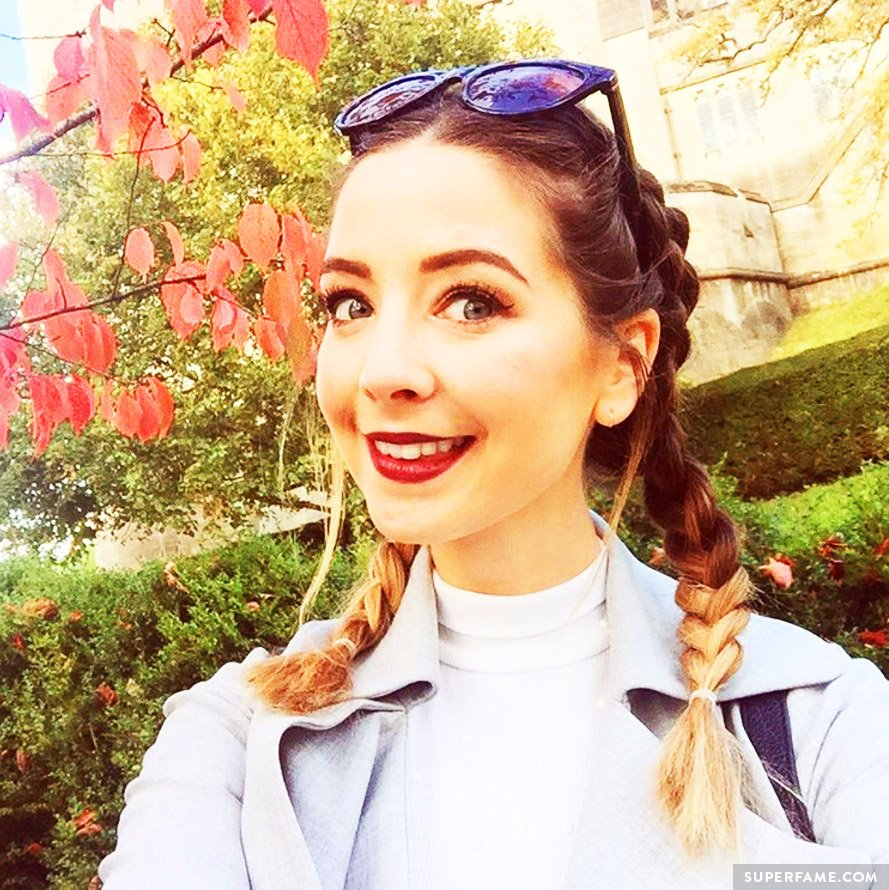 Zoella in braids.