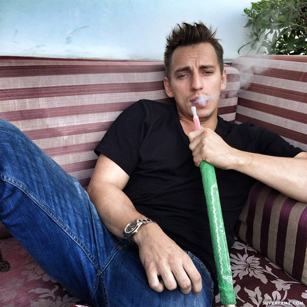Vitaly smoking.