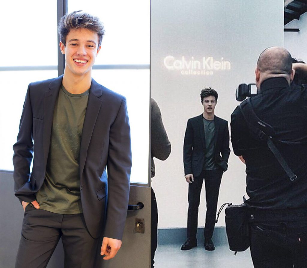 Cameron in a suit.