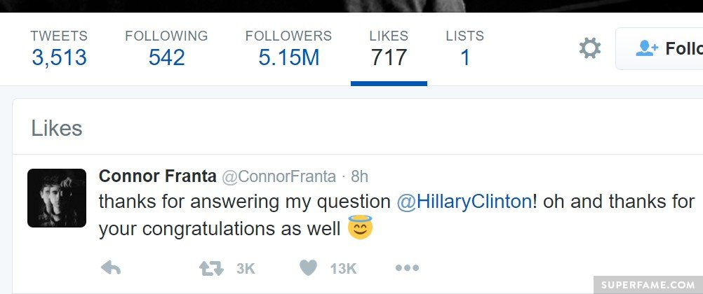 Connor Franta and Hillary Clinton.