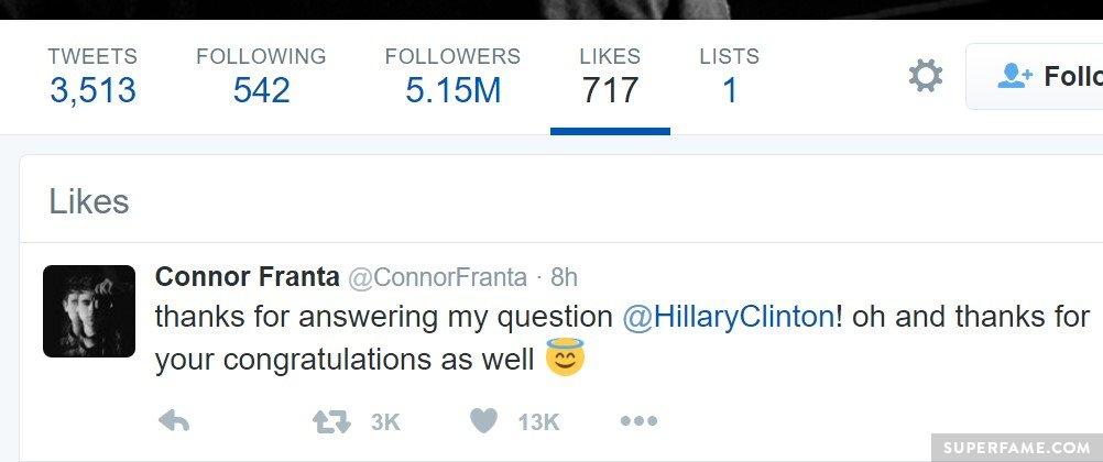 Connor Franta and Hillary Clinton.