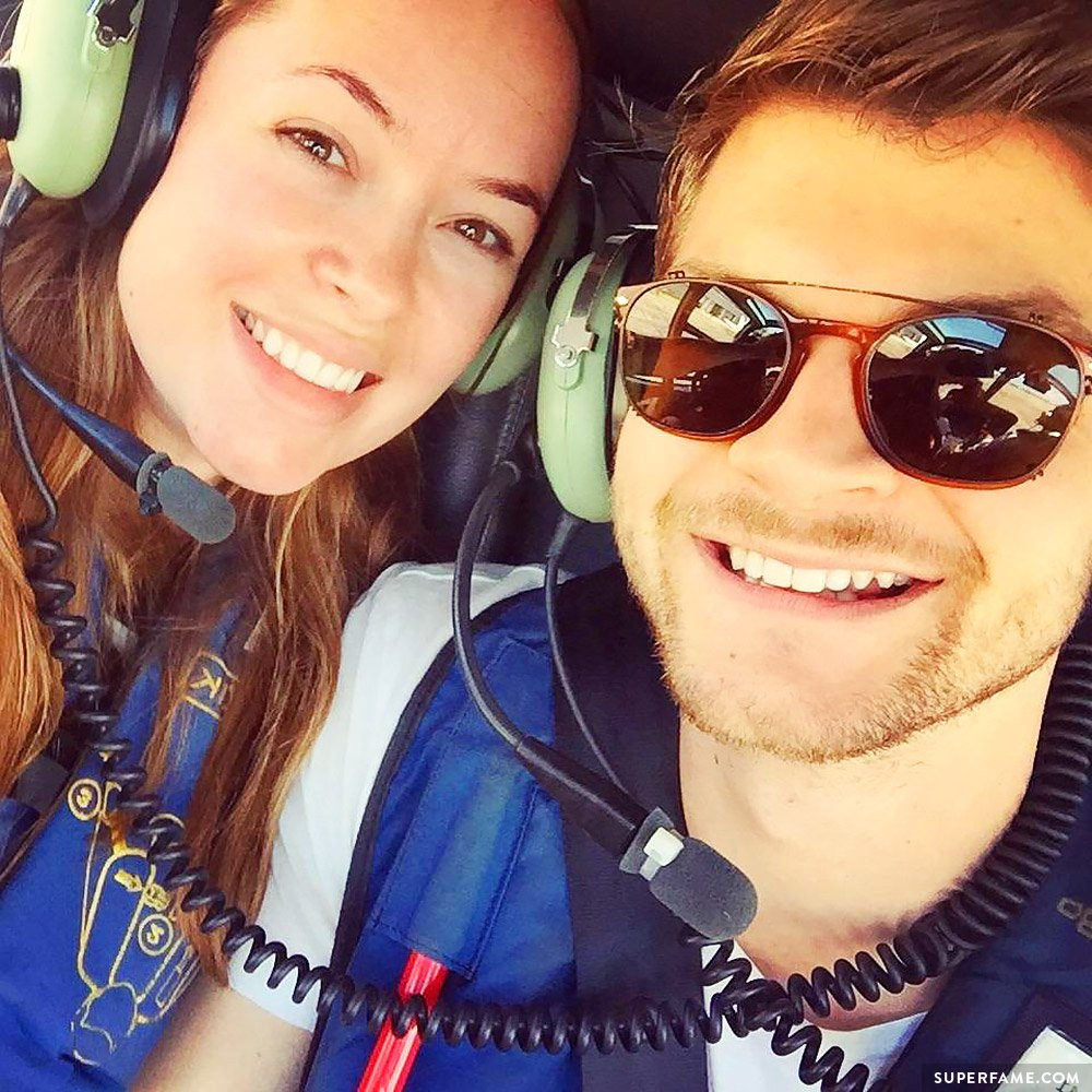 Jim and Tanya on a helicopter.