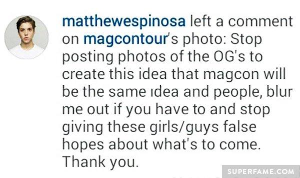 Matt Espinosa's Instagram comment.