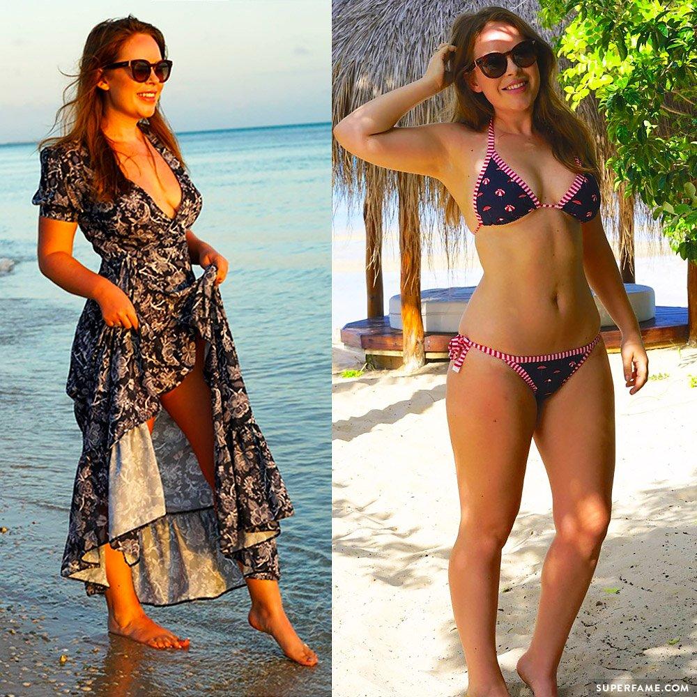 Tanya Burr, bikini model.