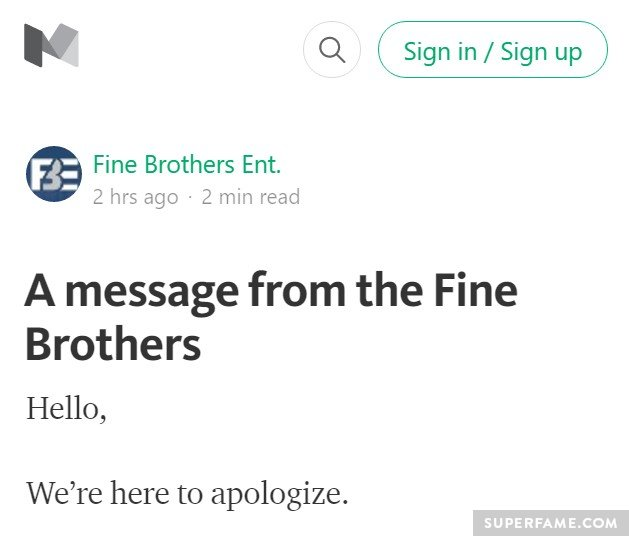 The Fine Bros' apology.