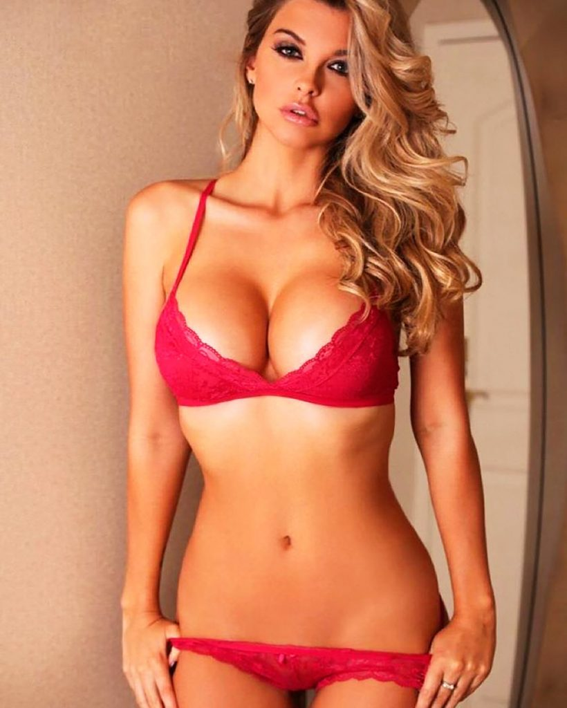 Emily Sears in lingerie.