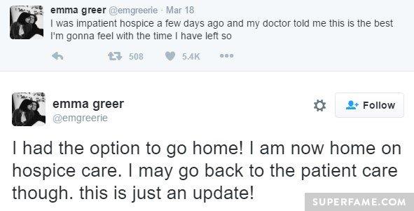 Emma's last tweets.