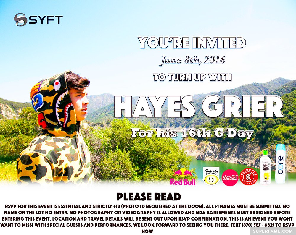 Hayes' birthday invite.