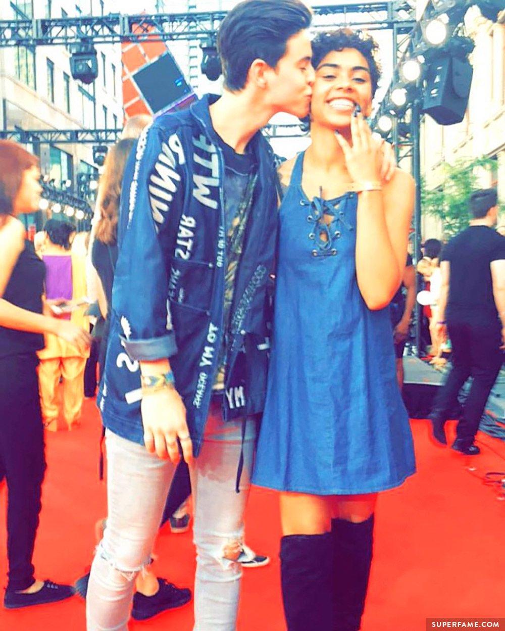 Nash Grier's girlfriend kiss.