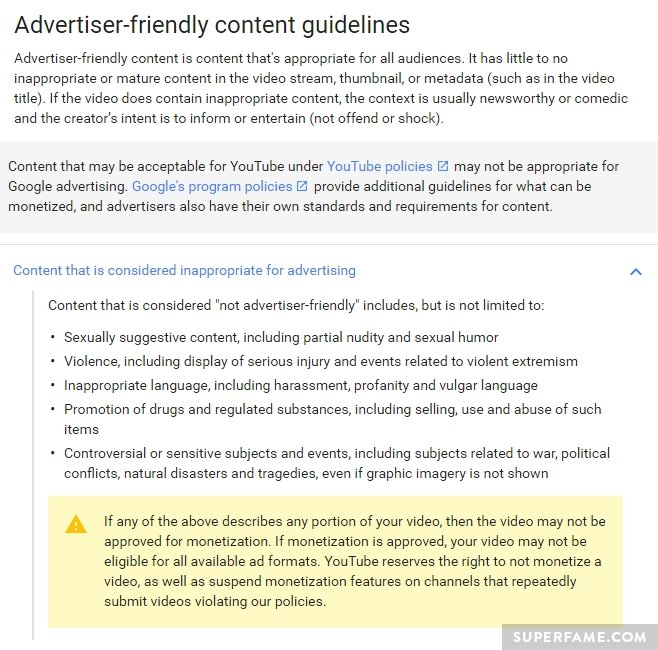 Advertiser friendly guidelines.