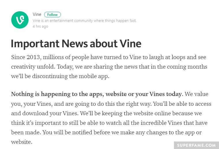 Vine announcement.