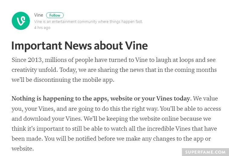 Vine announcement.