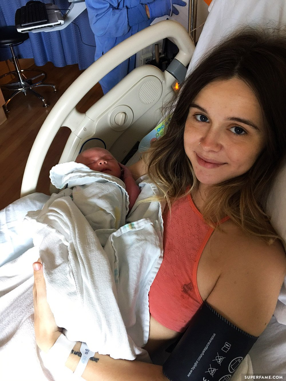 Acacia Brinley with baby.