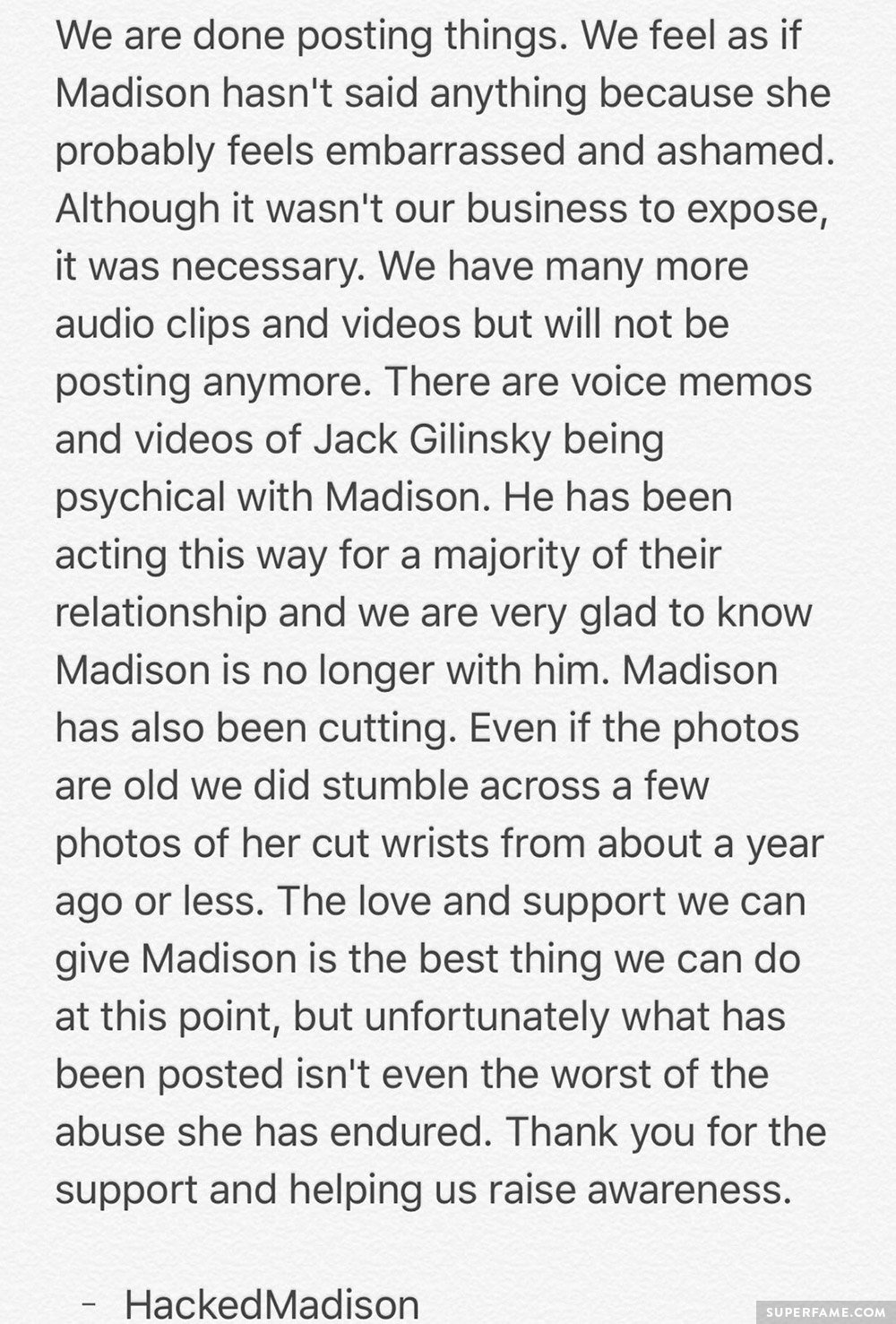 Madison Beer's message.