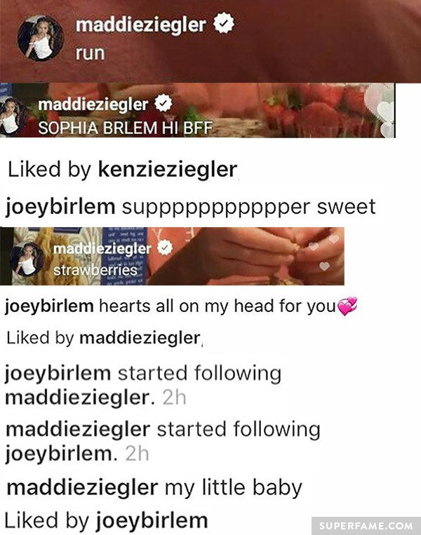 Maddie liking Joey's Instagrams.